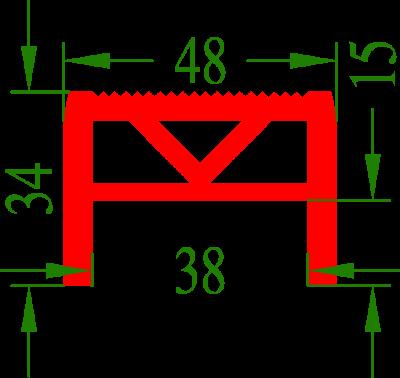 Profilgummi 48mm breit, für Holzauflagen an Slipwagen oder Trailern bis max. 38mm Holzstärke